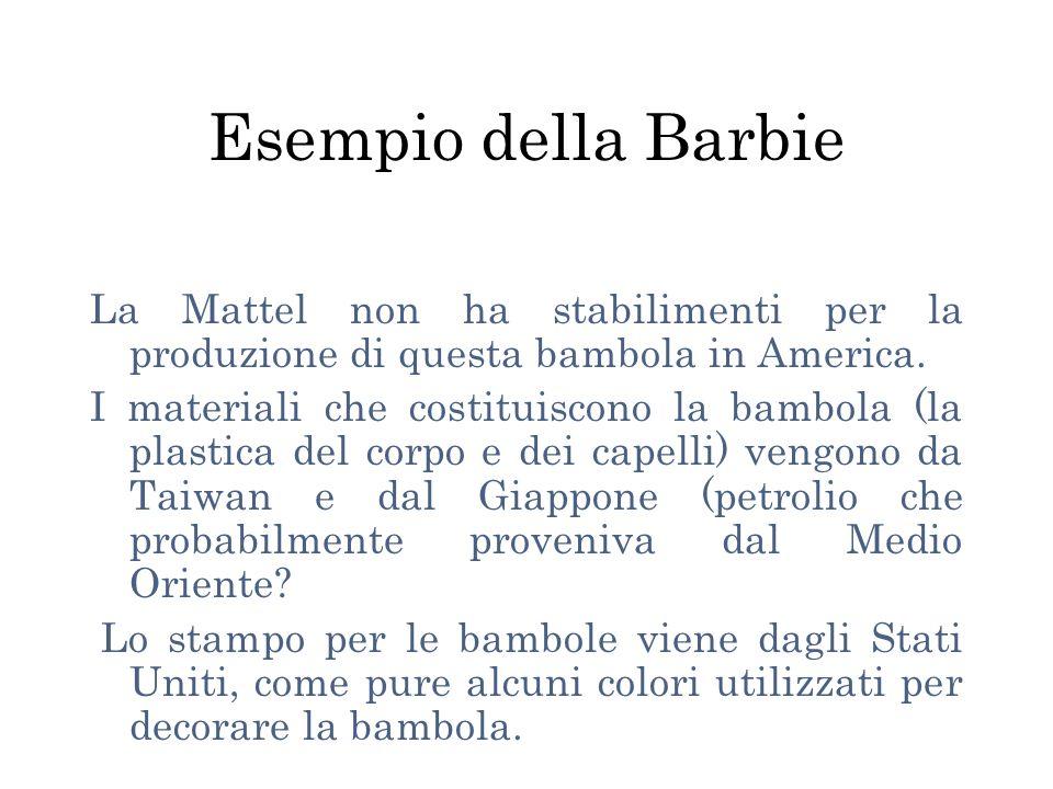 Esempio della Barbie La Mattel non ha stabilimenti per la produzione di questa bambola in America.