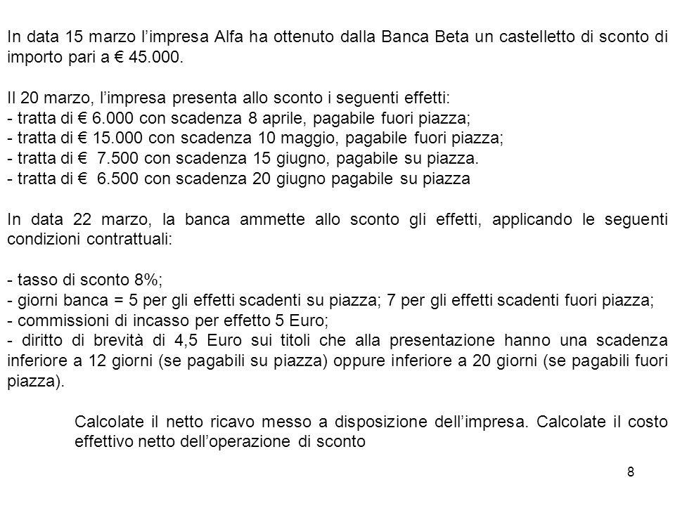 8 In data 15 marzo limpresa Alfa ha ottenuto dalla Banca Beta un castelletto di sconto di importo pari a 45.000. Il 20 marzo, limpresa presenta allo s