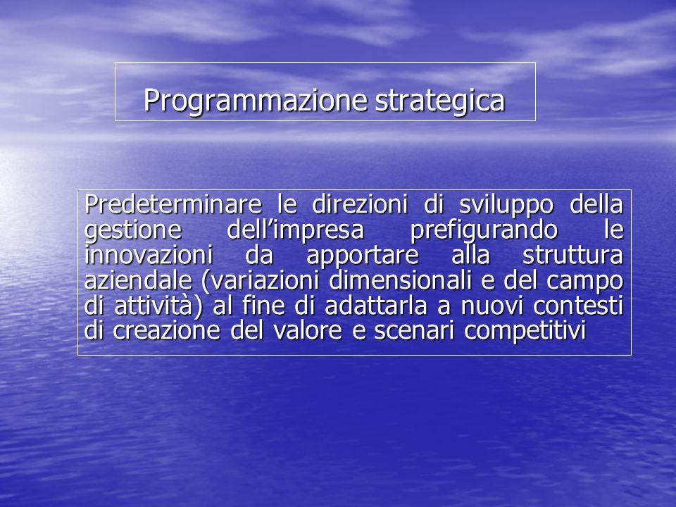 Programmazione strategica Predeterminare le direzioni di sviluppo della gestione dellimpresa prefigurando le innovazioni da apportare alla struttura aziendale (variazioni dimensionali e del campo di attività) al fine di adattarla a nuovi contesti di creazione del valore e scenari competitivi