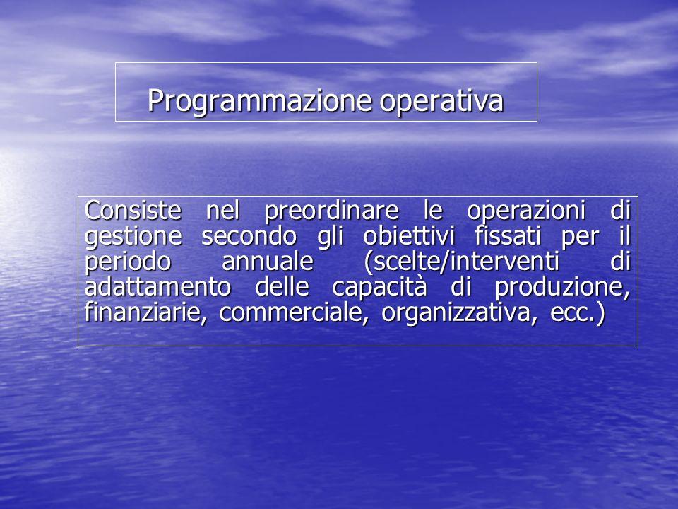 Programmazione operativa Consiste nel preordinare le operazioni di gestione secondo gli obiettivi fissati per il periodo annuale (scelte/interventi di adattamento delle capacità di produzione, finanziarie, commerciale, organizzativa, ecc.)