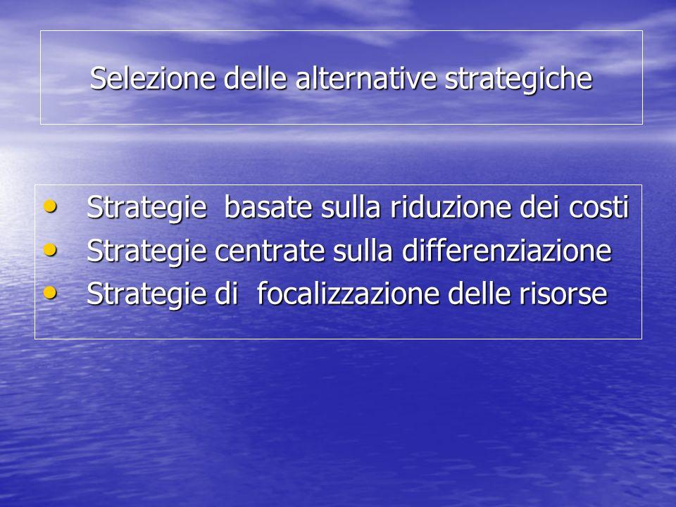 Selezione delle alternative strategiche Strategie basate sulla riduzione dei costi Strategie basate sulla riduzione dei costi Strategie centrate sulla differenziazione Strategie centrate sulla differenziazione Strategie di focalizzazione delle risorse Strategie di focalizzazione delle risorse