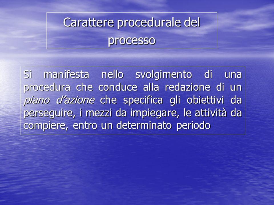 Carattere procedurale del processo Si manifesta nello svolgimento di una procedura che conduce alla redazione di un piano dazione che specifica gli obiettivi da perseguire, i mezzi da impiegare, le attività da compiere, entro un determinato periodo