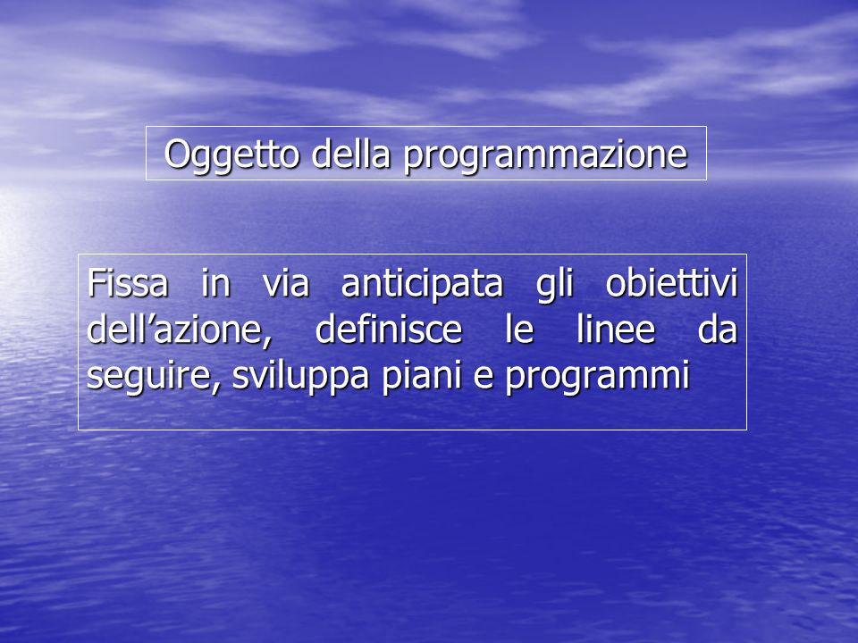 Oggetto della programmazione Fissa in via anticipata gli obiettivi dellazione, definisce le linee da seguire, sviluppa piani e programmi