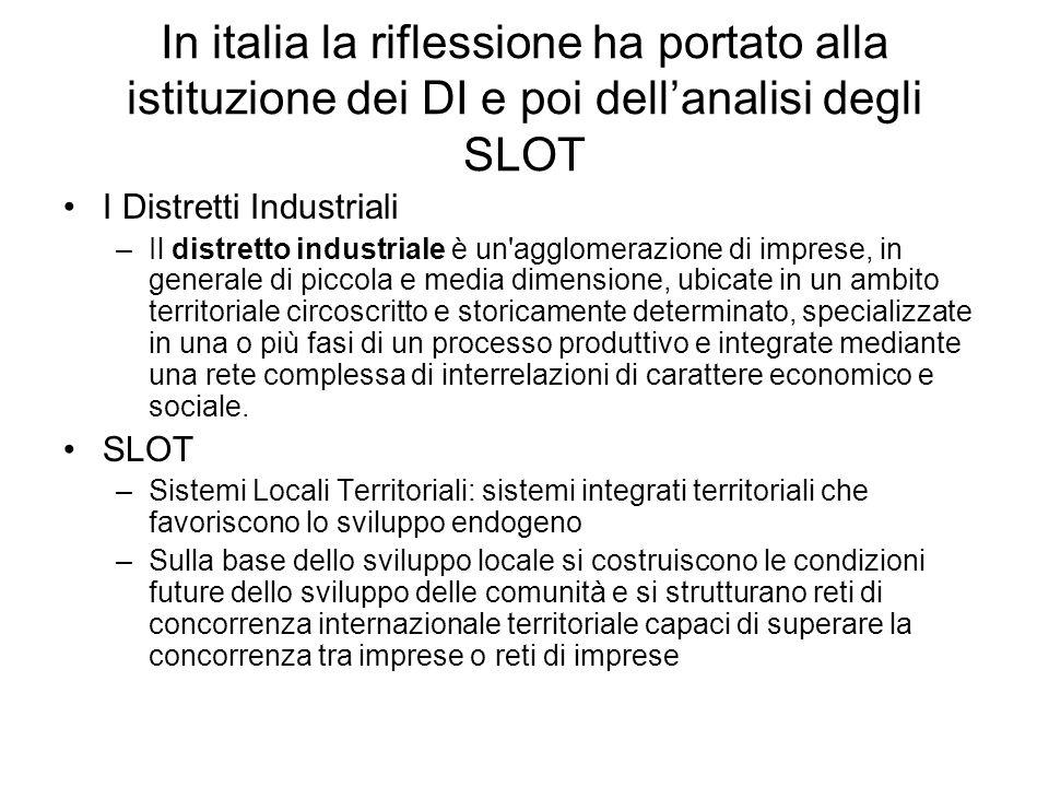 In italia la riflessione ha portato alla istituzione dei DI e poi dellanalisi degli SLOT I Distretti Industriali –Il distretto industriale è un'agglom