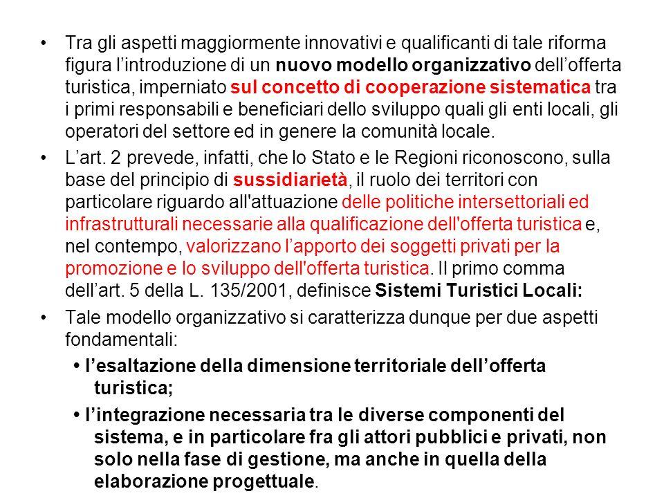 Tra gli aspetti maggiormente innovativi e qualificanti di tale riforma figura lintroduzione di un nuovo modello organizzativo dellofferta turistica, i