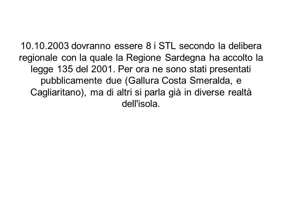 10.10.2003 dovranno essere 8 i STL secondo la delibera regionale con la quale la Regione Sardegna ha accolto la legge 135 del 2001. Per ora ne sono st
