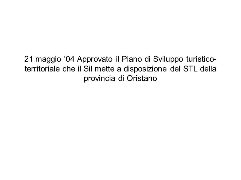 21 maggio 04 Approvato il Piano di Sviluppo turistico- territoriale che il Sil mette a disposizione del STL della provincia di Oristano