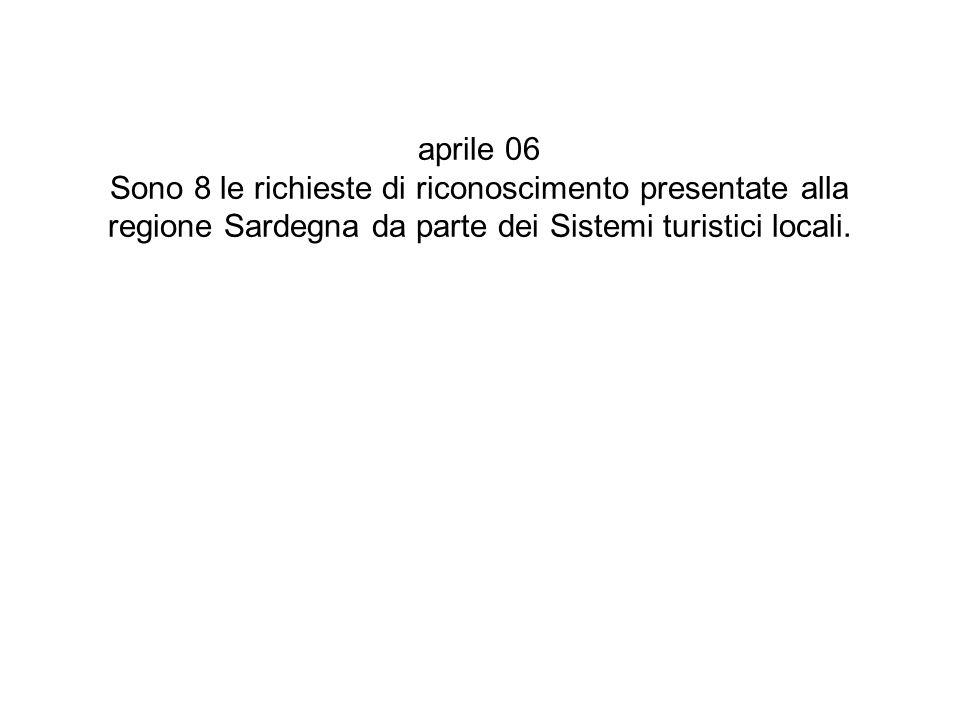 aprile 06 Sono 8 le richieste di riconoscimento presentate alla regione Sardegna da parte dei Sistemi turistici locali.