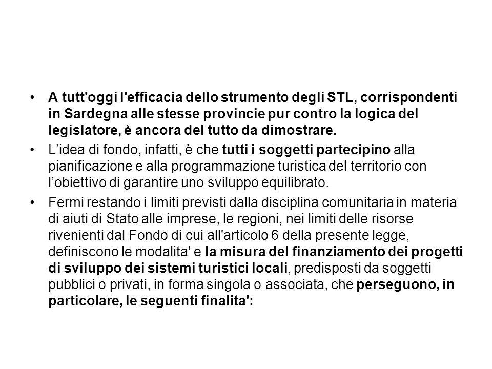 A tutt'oggi l'efficacia dello strumento degli STL, corrispondenti in Sardegna alle stesse provincie pur contro la logica del legislatore, è ancora del