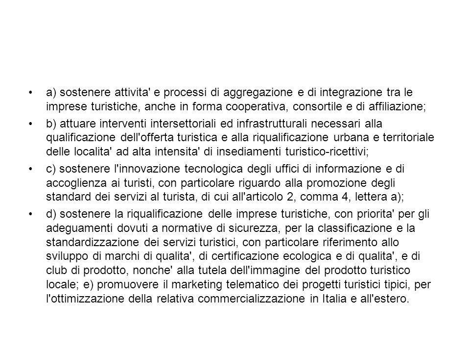 a) sostenere attivita' e processi di aggregazione e di integrazione tra le imprese turistiche, anche in forma cooperativa, consortile e di affiliazion