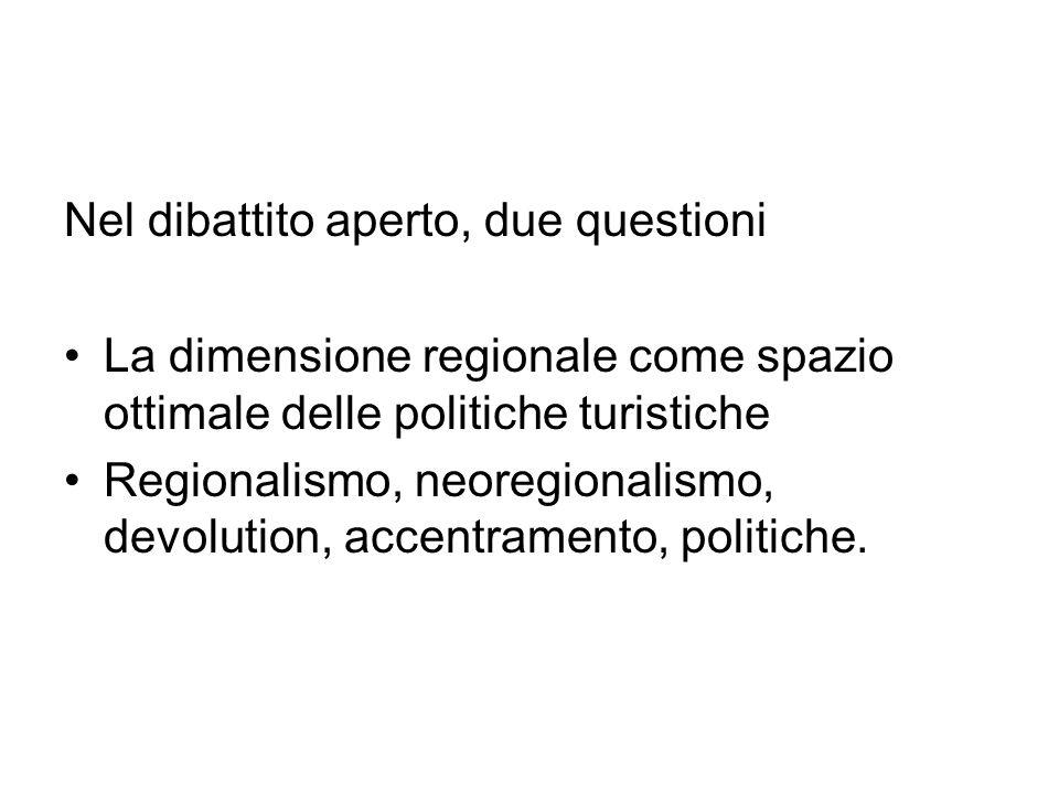 Nel dibattito aperto, due questioni La dimensione regionale come spazio ottimale delle politiche turistiche Regionalismo, neoregionalismo, devolution,