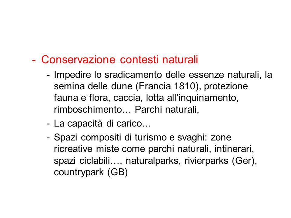 -Conservazione contesti naturali -Impedire lo sradicamento delle essenze naturali, la semina delle dune (Francia 1810), protezione fauna e flora, cacc