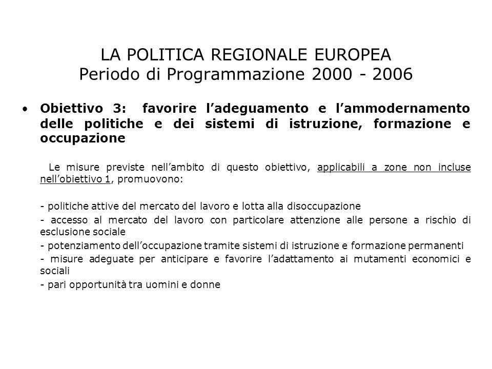LA POLITICA REGIONALE EUROPEA Periodo di Programmazione 2000 - 2006 Obiettivo 3: favorire ladeguamento e lammodernamento delle politiche e dei sistemi
