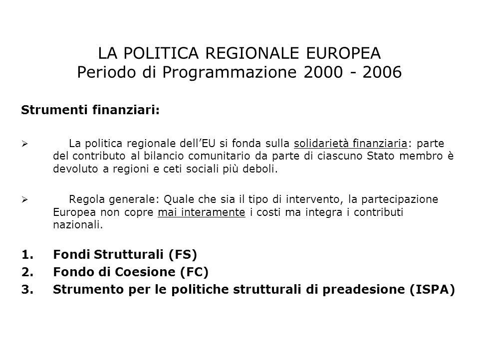 LA POLITICA REGIONALE EUROPEA Periodo di Programmazione 2000 - 2006 Strumenti finanziari: La politica regionale dellEU si fonda sulla solidarietà fina