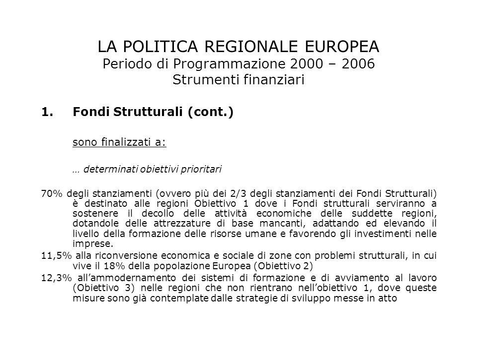 LA POLITICA REGIONALE EUROPEA Periodo di Programmazione 2000 – 2006 Strumenti finanziari 1.Fondi Strutturali (cont.) sono finalizzati a: … determinati