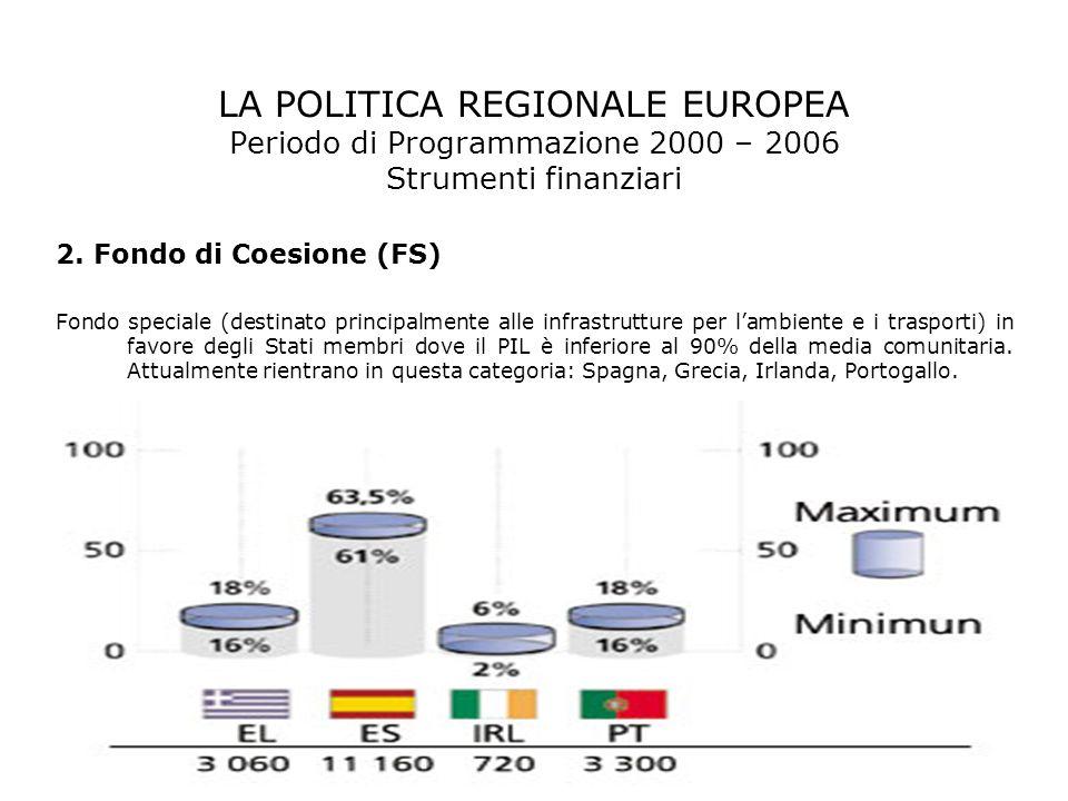 LA POLITICA REGIONALE EUROPEA Periodo di Programmazione 2000 – 2006 Strumenti finanziari 2. Fondo di Coesione (FS) Fondo speciale (destinato principal