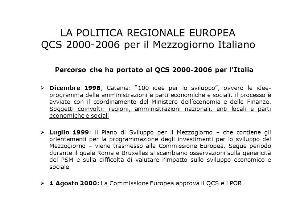 LA POLITICA REGIONALE EUROPEA QCS 2000-2006 per il Mezzogiorno Italiano Percorso che ha portato al QCS 2000-2006 per lItalia Dicembre 1998, Catania: 1