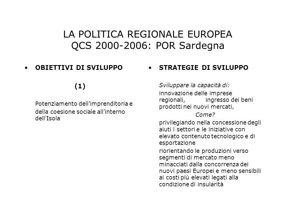 OBIETTIVI DI SVILUPPO (1) Potenziamento dellimprenditoria e della coesione sociale allinterno dellIsola STRATEGIE DI SVILUPPO Sviluppare la capacità d
