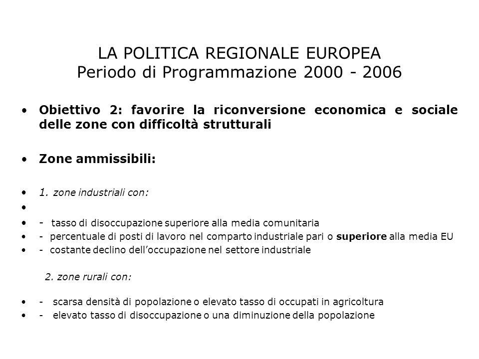 Obiettivo 2: favorire la riconversione economica e sociale delle zone con difficoltà strutturali Zone ammissibili: 1. zone industriali con : - tasso d