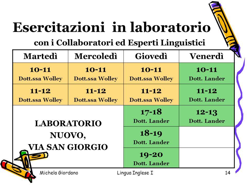 Michela GiordanoLingua Inglese I14 Esercitazioni in laboratorio con i Collaboratori ed Esperti Linguistici MartedìMercoledìGiovedìVenerdì 10-11 Dott.s