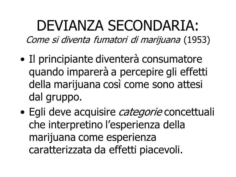DEVIANZA SECONDARIA: Come si diventa fumatori di marijuana (1953) Il principiante diventerà consumatore quando imparerà a percepire gli effetti della