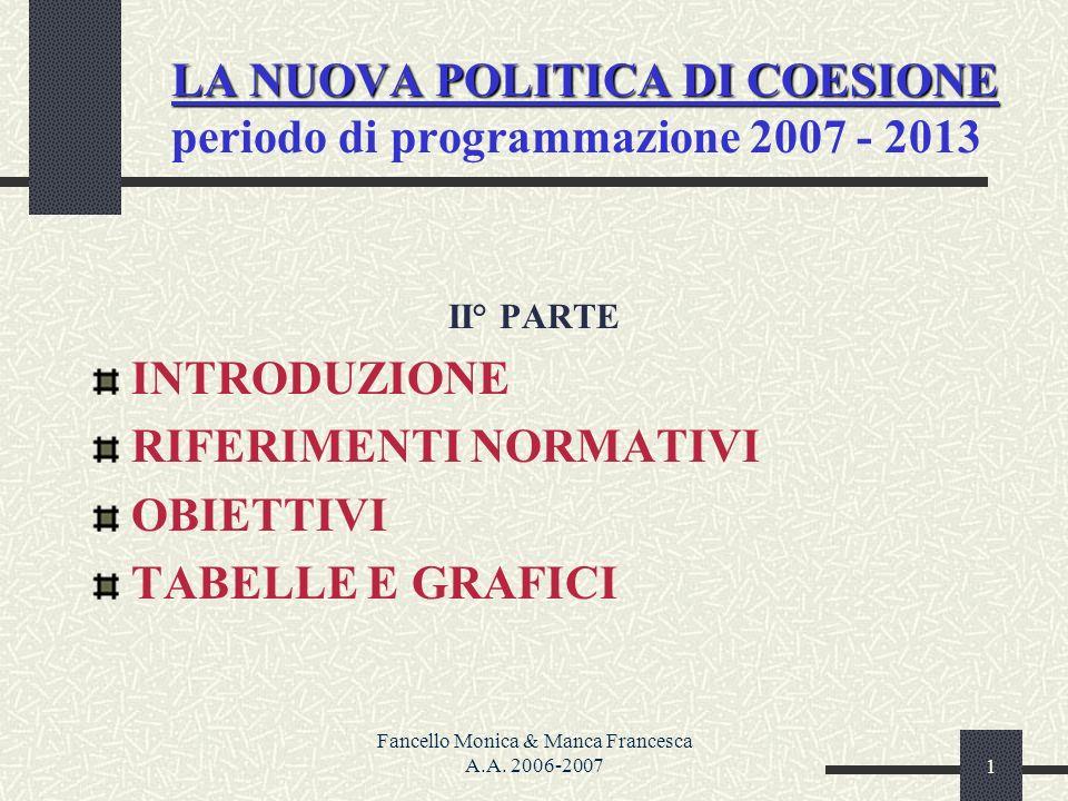 Fancello Monica & Manca Francesca A.A. 2006-20071 LA NUOVA POLITICA DI COESIONE LA NUOVA POLITICA DI COESIONE periodo di programmazione 2007 - 2013 II