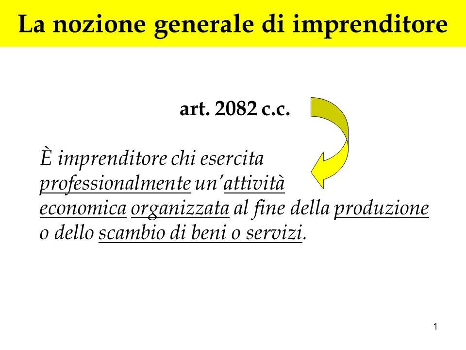 1 La nozione generale di imprenditore art. 2082 c.c. È imprenditore chi esercita professionalmente unattività economica organizzata al fine della prod
