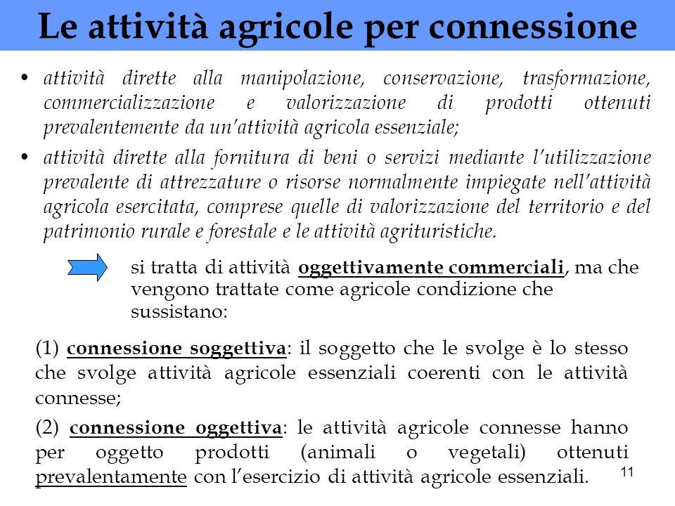 11 Le attività agricole per connessione attività dirette alla manipolazione, conservazione, trasformazione, commercializzazione e valorizzazione di pr
