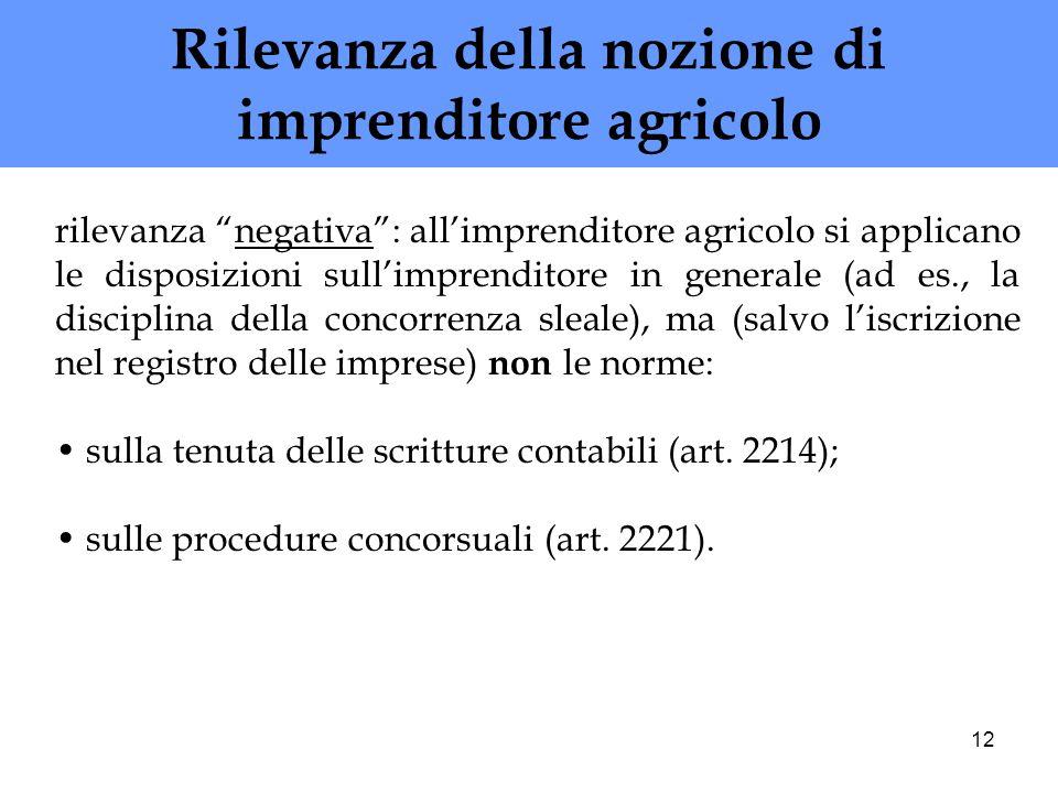 12 Rilevanza della nozione di imprenditore agricolo rilevanza negativa: allimprenditore agricolo si applicano le disposizioni sullimprenditore in gene