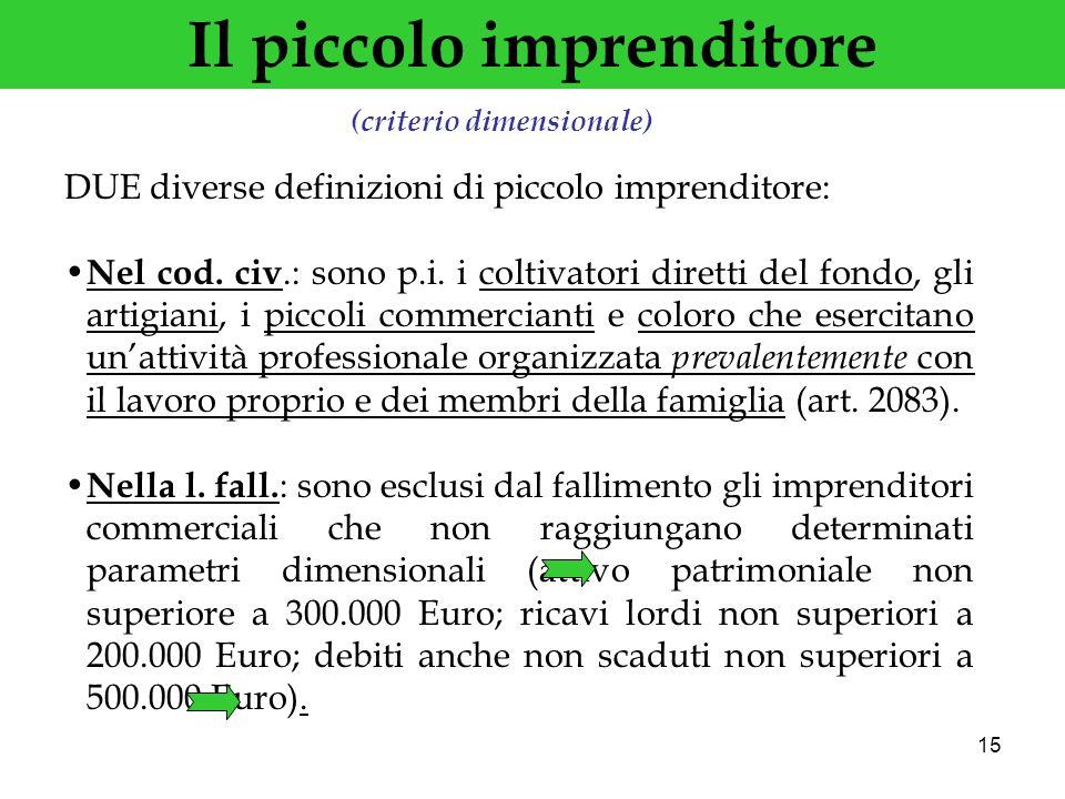 15 Il piccolo imprenditore DUE diverse definizioni di piccolo imprenditore: Nel cod. civ.: sono p.i. i coltivatori diretti del fondo, gli artigiani, i