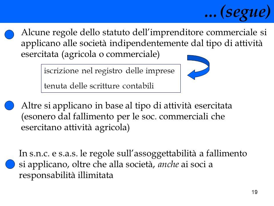 19 …(segue) Alcune regole dello statuto dellimprenditore commerciale si applicano alle società indipendentemente dal tipo di attività esercitata (agri