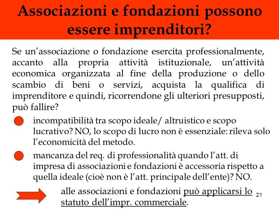 21 Associazioni e fondazioni possono essere imprenditori? Se unassociazione o fondazione esercita professionalmente, accanto alla propria attività ist