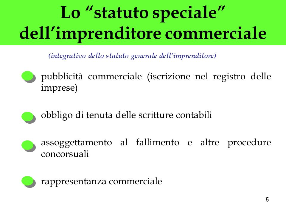 5 Lo statuto speciale dellimprenditore commerciale pubblicità commerciale (iscrizione nel registro delle imprese) obbligo di tenuta delle scritture co
