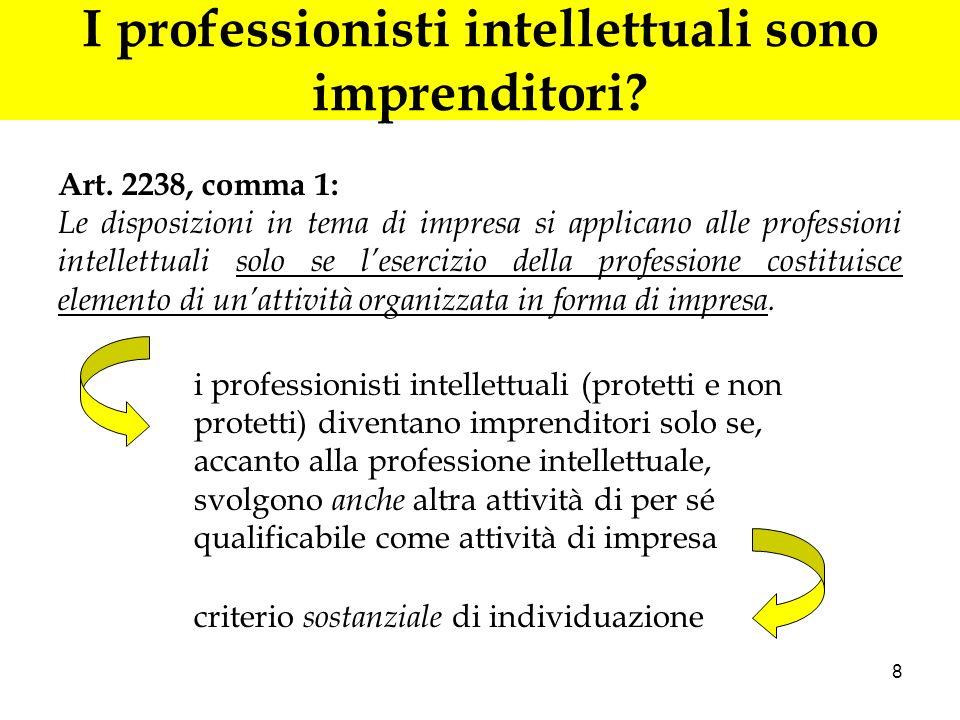 8 I professionisti intellettuali sono imprenditori? Art. 2238, comma 1: Le disposizioni in tema di impresa si applicano alle professioni intellettuali