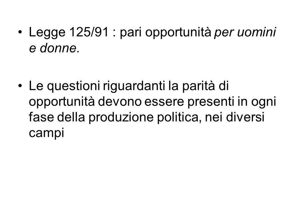 Legge 125/91 : pari opportunità per uomini e donne. Le questioni riguardanti la parità di opportunità devono essere presenti in ogni fase della produz