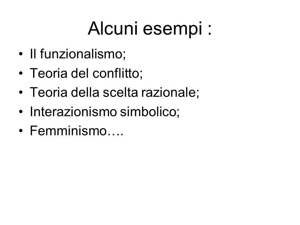 Alcuni esempi : Il funzionalismo; Teoria del conflitto; Teoria della scelta razionale; Interazionismo simbolico; Femminismo….