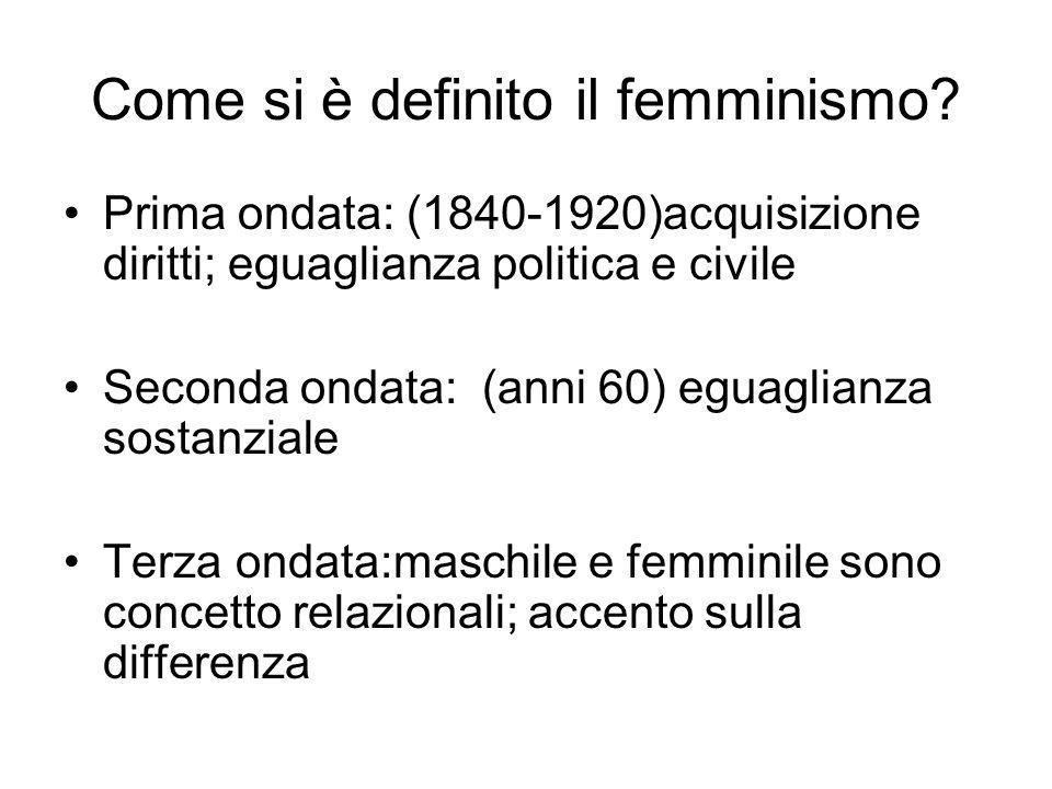 Come si è definito il femminismo? Prima ondata: (1840-1920)acquisizione diritti; eguaglianza politica e civile Seconda ondata: (anni 60) eguaglianza s