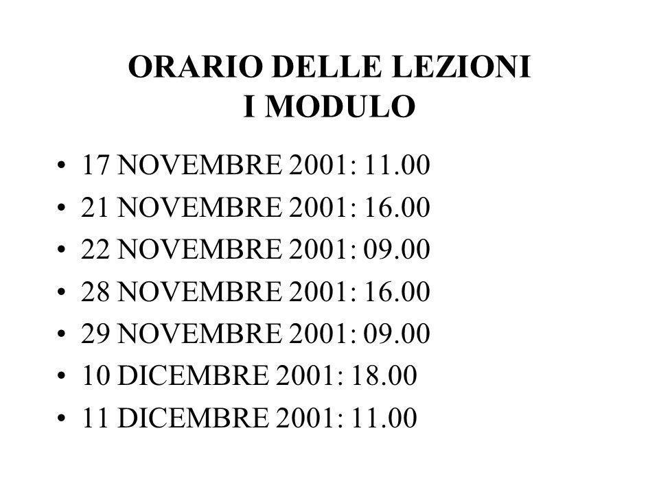 ORARIO DELLE LEZIONI I MODULO 17 NOVEMBRE 2001: 11.00 21 NOVEMBRE 2001: 16.00 22 NOVEMBRE 2001: 09.00 28 NOVEMBRE 2001: 16.00 29 NOVEMBRE 2001: 09.00