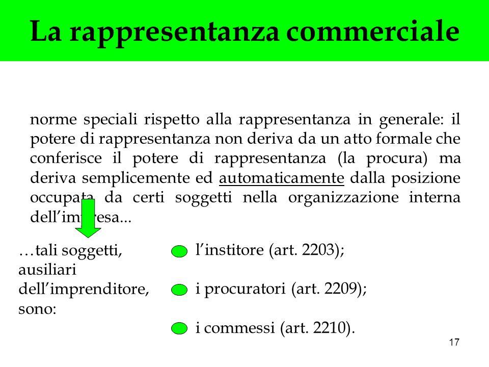 17 La rappresentanza commerciale norme speciali rispetto alla rappresentanza in generale: il potere di rappresentanza non deriva da un atto formale ch
