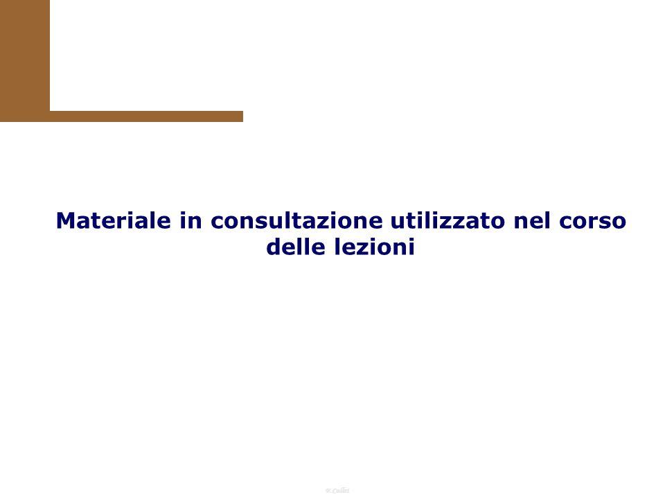 F.Callai Materiale in consultazione utilizzato nel corso delle lezioni