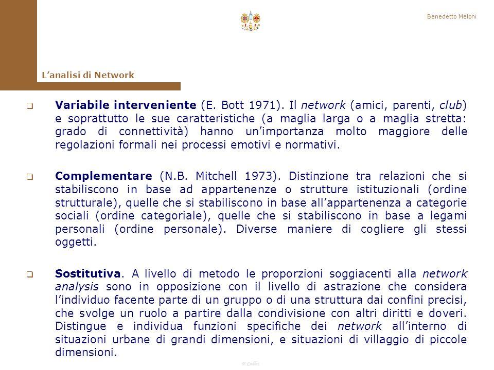 F.Callai Benedetto Meloni Quale relazione esiste tra analisi di rete e analisi strutturale dei gruppi (famiglia, parentela, vicinato, villaggio, parrocchia, fabbrica,) dotati di confini, dimensioni, norme, che sono dati .