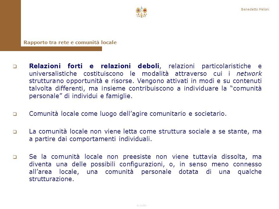 F.Callai Benedetto Meloni Superamento e critica delle impostazioni dicotomiche che postulano la rottura dei legami personali, lisolamento e la perdita di funzioni della famiglia e delle comunità locali nel processo di modernizzazione.