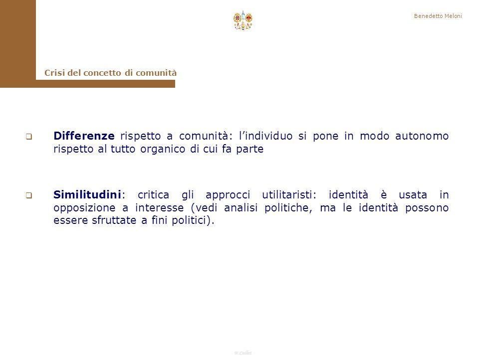 F.Callai Benedetto Meloni Non abbandono delle questioni che venivano poste, bensì conservazione sottoforma di tracce, di queste questioni in problematiche differenziate, non incompatibili in modo unitario.