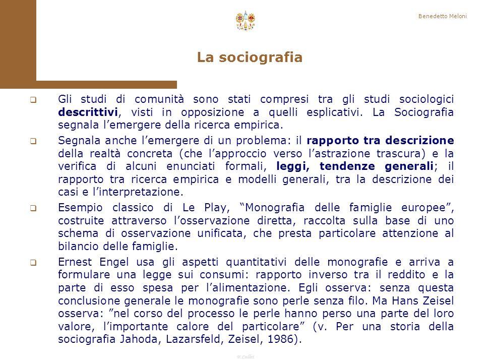 F.Callai Benedetto Meloni In fondo più le società locali si complicano, più esse estendono a livello di individuo e di collettività il campo delle loro relazioni esterne, più lo studio guadagna di interesse, senza perdere di accessibilità.