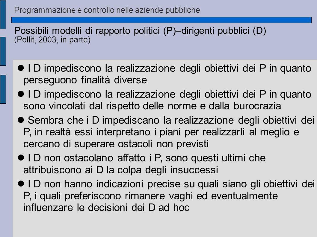 Possibili modelli di rapporto politici (P)–dirigenti pubblici (D) (Pollit, 2003, in parte) I D impediscono la realizzazione degli obiettivi dei P in q