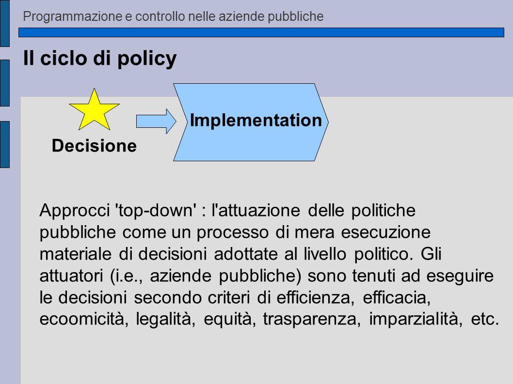 Il ciclo di policy Implementation Decisione Approcci 'top-down' : l'attuazione delle politiche pubbliche come un processo di mera esecuzione materiale