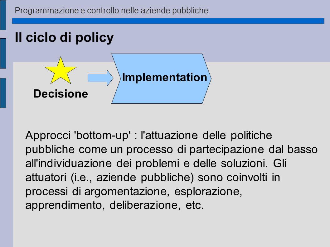 Il ciclo di policy Implementation Decisione Approcci 'bottom-up' : l'attuazione delle politiche pubbliche come un processo di partecipazione dal basso