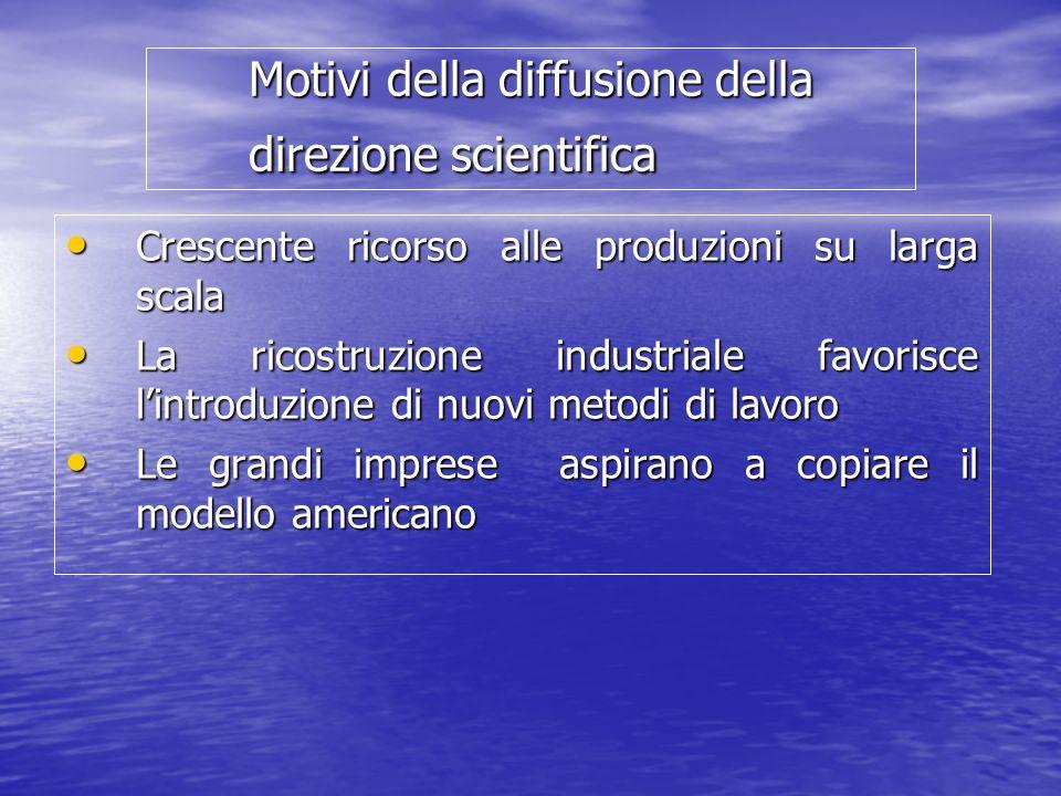 Motivi della diffusione della direzione scientifica Crescente ricorso alle produzioni su larga scala Crescente ricorso alle produzioni su larga scala
