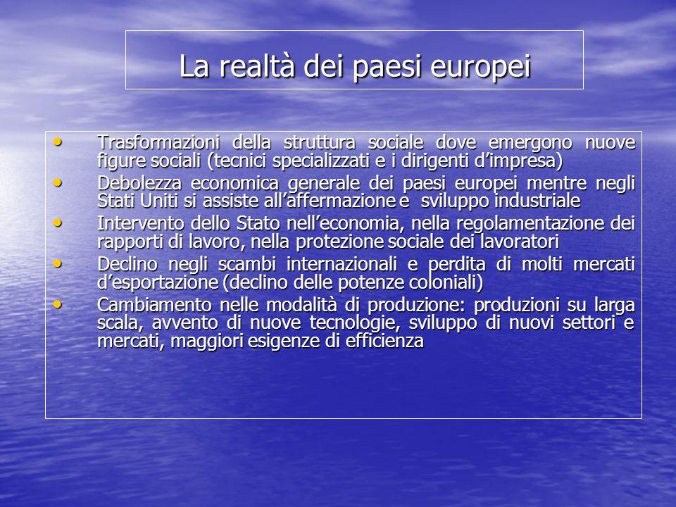 La realtà dei paesi europei Trasformazioni della struttura sociale dove emergono nuove figure sociali (tecnici specializzati e i dirigenti dimpresa) T