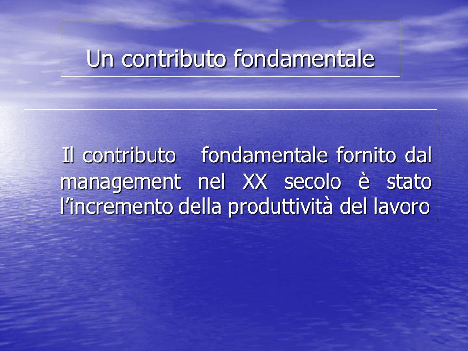 Un contributo fondamentale Il contributo fondamentale fornito dal management nel XX secolo è stato lincremento della produttività del lavoro Il contributo fondamentale fornito dal management nel XX secolo è stato lincremento della produttività del lavoro